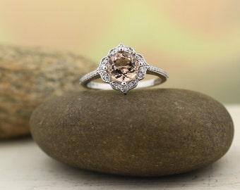 AAA Morganite Engagement Ring Set  Diamond Wedding Ring Set Vintage Floral style In 14k White Gold Gem1224