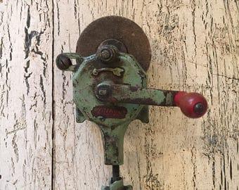 Vintage Rustic Stone Bench Grinder