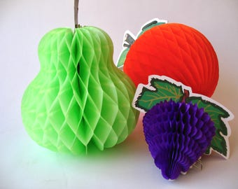 set of 3 honeycomb paper fruit, a pear, an orange and grapes