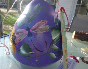 Hand painted Gourd Birdhouse with Pink Butterly
