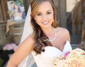 Bridal Jewelry Pearl Wedding Necklace Bridal earrings Swarovski Crystal rhinestone Swarovski Pearl,  Wedding jewelry, Claire Set