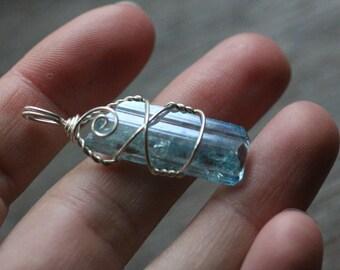 Danburite Aura Sterling Silver Wire Wrap 2.9 gram Pendant  #7750