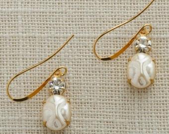 Crystal & Pearl Earrings Gold French Hook Pear Teardrop Stones Wedding Earrings Bridesmaid  Flower Girl Gifts Handmade USA 6H
