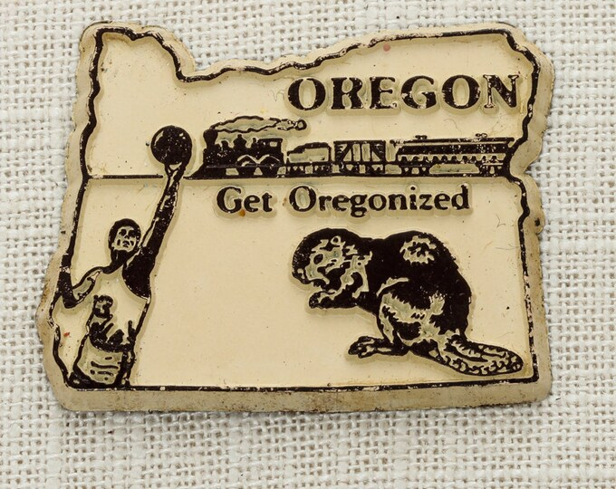 "Oregon State Magnet ""Get Oregonized"" Vintage Travel Tourism Summer Vacation Memento | USA America 'Merica | Portland Refrigerator 5S"