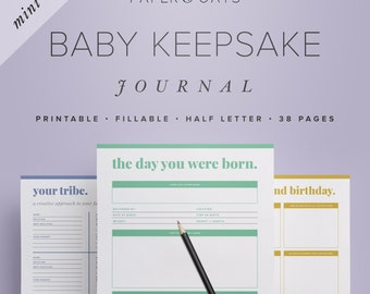 Mini Baby Keepsake Journal – Editable Digital Baby Book, New Mom Diary, Baby Shower Gift, Baby Toddler Milestones Memories / PDF Printables