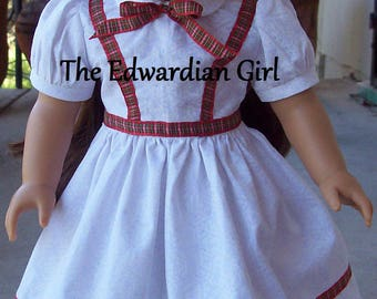 OOAK 1860s white snowflake glitter red plaid ribbon Victorian era for 18 inch play dolls such as American Girl, Springfield, OG. Made in USA