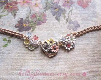 Flower Assemblage Necklace / OOAK / Enamel and Rhinestone Repurposed Vintage Jewelry / Pastel Floral Summer Fashion