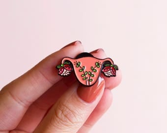 Uterus Enamel Pin Feminist Enamel Pin- Blooming Uterus Feminist Gift Cuterus Women' Rights Reproductive Rights Girl Power Art