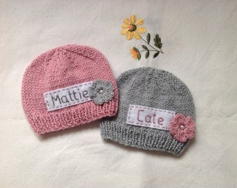 Newborn photo prop, pink newborn hat, personalized newborn hat, newborn girl, monogram baby hat, baby props, grey name beanie, newborn props