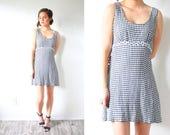 Vintage checkered mini summer dress // 90's style dress // plaid jumper retro checkered plaid daisy dress / XS small sleeveless dress 1950's