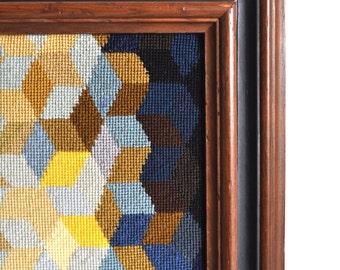SOLD:   Large Vintage Framed Modern Needlepoint