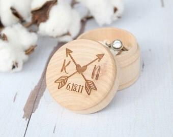 Arrow Ring Box Monogram Ring Box Beach Wedding Ring Box Ring Bearer Ring Box Keepsake Ring Box Photo Prop Ring Box