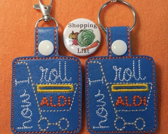 Aldi Coin Keeper Key Chain, Aldi Key Chain or Swivel Clip - Comes with Free Shopping List Magnet