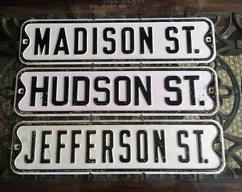 AWESOME set of THREE OLD Street Signs Great Vintage old And Antique Not too Rusty !