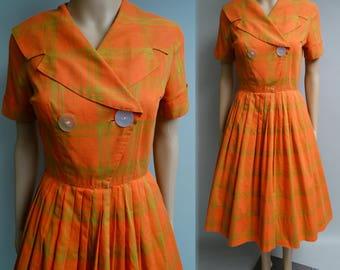 Vintage 1950s Dress   Orange Dress   Shawl Collar Dress   50s Dress   Pleated 50s Dress   Plaid Dress   New Look Dress   Rockabilly Dress