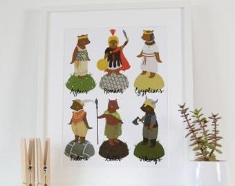 History Bears Print, A3 Bear Poster Print, Childrens Bedroom Art, Kids Wall Art, Childrens Art Prints, Bear Illustration, Historical Print