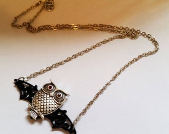 Original steampunk owl with bat wings charm pendant necklace Israel Hand made