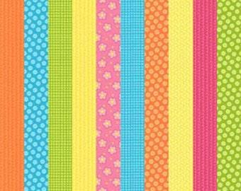 SALE Whooo Loves You Northcott Fabrics Owl Girl Flowers Pink Stripe Green Pink Orange Yellow Stash Builder