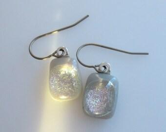 Titanium Sensitive Ears Dichroic Dangle Earrings Grey Fused Glass