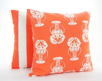 Coral White Nautical Throw Pillow Cushion Decorative Beach Pillow Covers Coral Couch Sofa  Pillows Two Salmon Coastal Bedding Cottage Decor