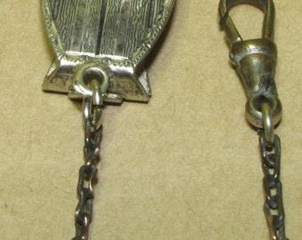 "Vintage 1930s Watch Chain Pocket Watch Belt Chain Silver Enamel ""W"" Clip Pocket Watch Chain"