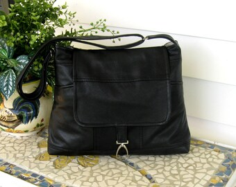 Recycled Leather Crossbody Handbag in Black Upcycled Leather