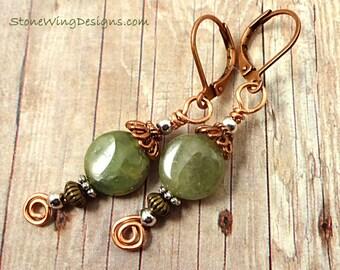 Green Garnet Earrings, Green Earrings, Green Stone Earrings, Gemstone Earrings, Green Garnet Jewelry, Mixed Metal Earrings, Green Gemstone