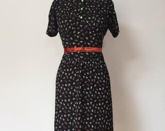 Vintage 40s Floral Crepe Dress S