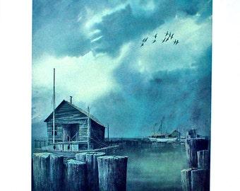 Print/Art Print/The Inlet/Herb Jones Print/Limited Edition Print/Virginia Tidewater/Hunting Print/Goose Hunting/Lithograph