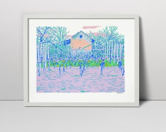 Vineyard serigraph - vineyard screen print - spring vineyard - vineyard vines - spring garden - vineyard barn - wine coutry spring landscape