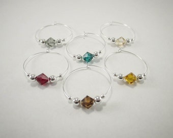 6 wine charms | Swarovski ® Crystal Elements wine glass charms | gift box | wine hostess gift - wine glass markers - unique wine gift SSC6-2