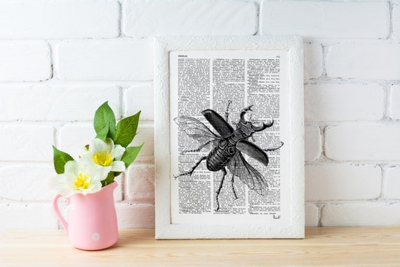Spring Sale Wall decor Black Beetle Dictionary Print Altered art book pages art insect print decor poster print, wall beetle BPBB05
