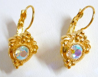 Vintage Avon Golden Leverback Pierced Earrings, 1997 - Iridescent Crystals