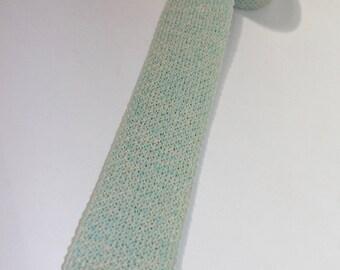 "vintage 1960's -unknown maker- Men's knit neck tie. Aqua Marl w/ Cream ends- Cotton. 2 1/4"" width."