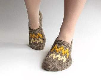 EU Size 36-37 - Patterned Hand Knitted Slippers - Winter Home Comfort - 100% Natural Wool