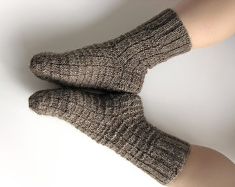 EU Size 39-41 - Hand Knitted Socks - Made of Hand Spun Undyed Wool Yarn - 100% Natural Organic Warm Clothing