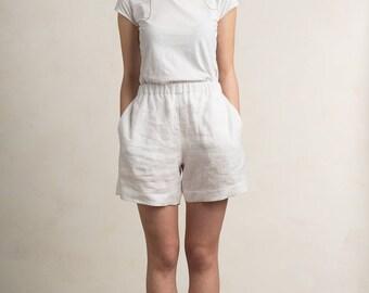 Linen shorts, Linen women's clothing, White shorts or pants, White linen shorts by LHI