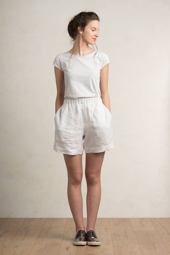 Linen shorts, Linen women's clothing, White shorts or pants, White linen shorts by LHI