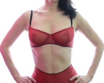 Women Sleepwear & Intimates Bras The Sheer Cup Underwire Red Mesh Love Bra MADE TO ORDER