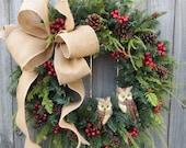Christmas Wreath Owl Wreath Burlap Owl Wreath Burlap Color Christmas and Winter Wreath, Woodland Owl Wreath, Natural Christmas Decor