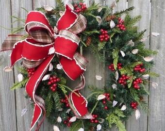 Christmas Wreath Rustic Cotton Hull Wreath Cuddly Plaid Wreath Christmas and Houswarming Wreath, Woodland Wreath, Natural Christmas Decor