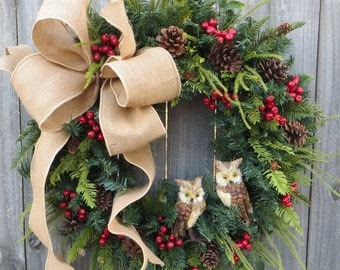 Christmas Wreath Owl Wreath Burlap Owl Wreath Burlap Color Christmas and Winter Wreath, Woodland Owl Wreath, Natural Christmas Decor