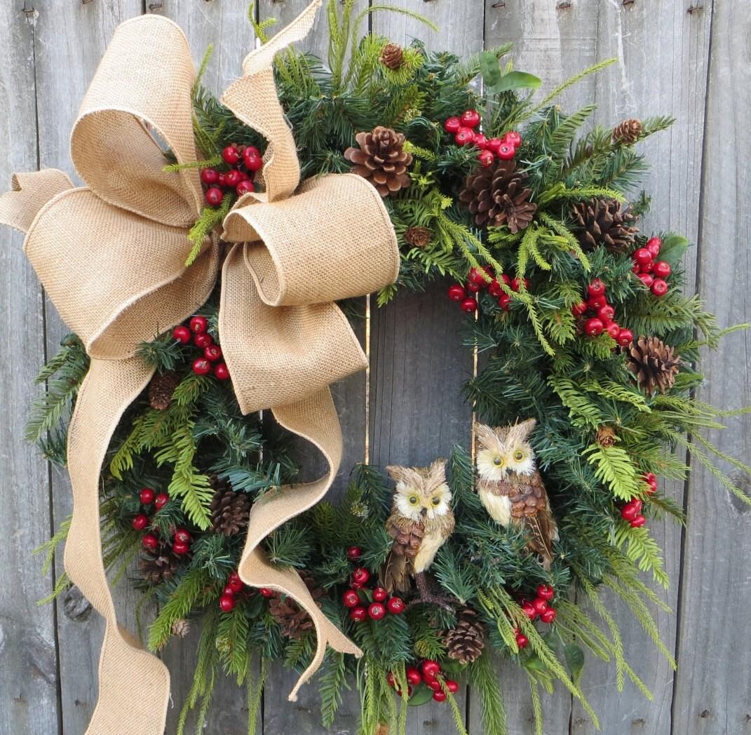 Christmas Wreath Owl Wreath Burlap Owl Wreath Burlap Color