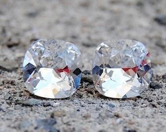 Clear Diamond Cushion Cut Stud Earrings Swarovski Crystal Diamond Rounded Square Earrings Bridal Earrings Wedding Jewelry Diamond Bride
