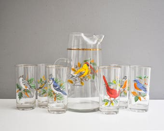 West Virginia Glass Bird Pitcher and Drinking Glasses