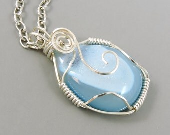 Light Blue Agate Druzy Necklace, Wire Wrapped Necklace, Druzy Jewelry, Wire Wrapped Jewelry, Drusy, Dyed Agate