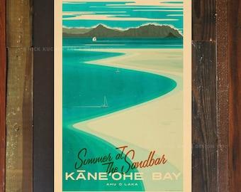 Kaneohe Bay Sandbar - 12x18 Retro Hawaii Travel Print