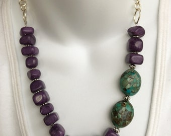 Asymmetrical purple and turquoise statement necklace