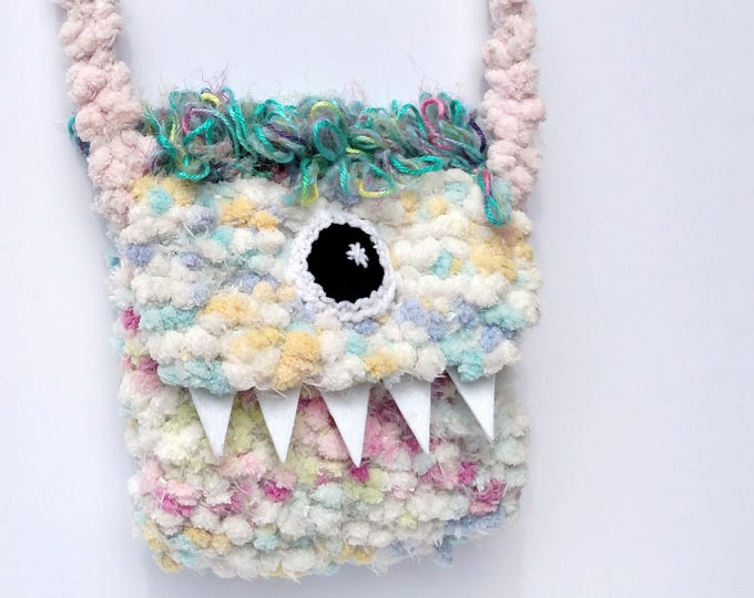 Silly Cyclops Hand Knit Bag - Pastel and Aqua