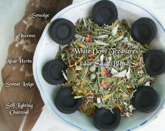 Organic Sage Cedar Herbal Smudge Blend 2oz ~ 6oz & 10 Charcoal Discs ~ Florals Botanicals White Sage Juniper ~ Sweat Lodge Altar Herbs